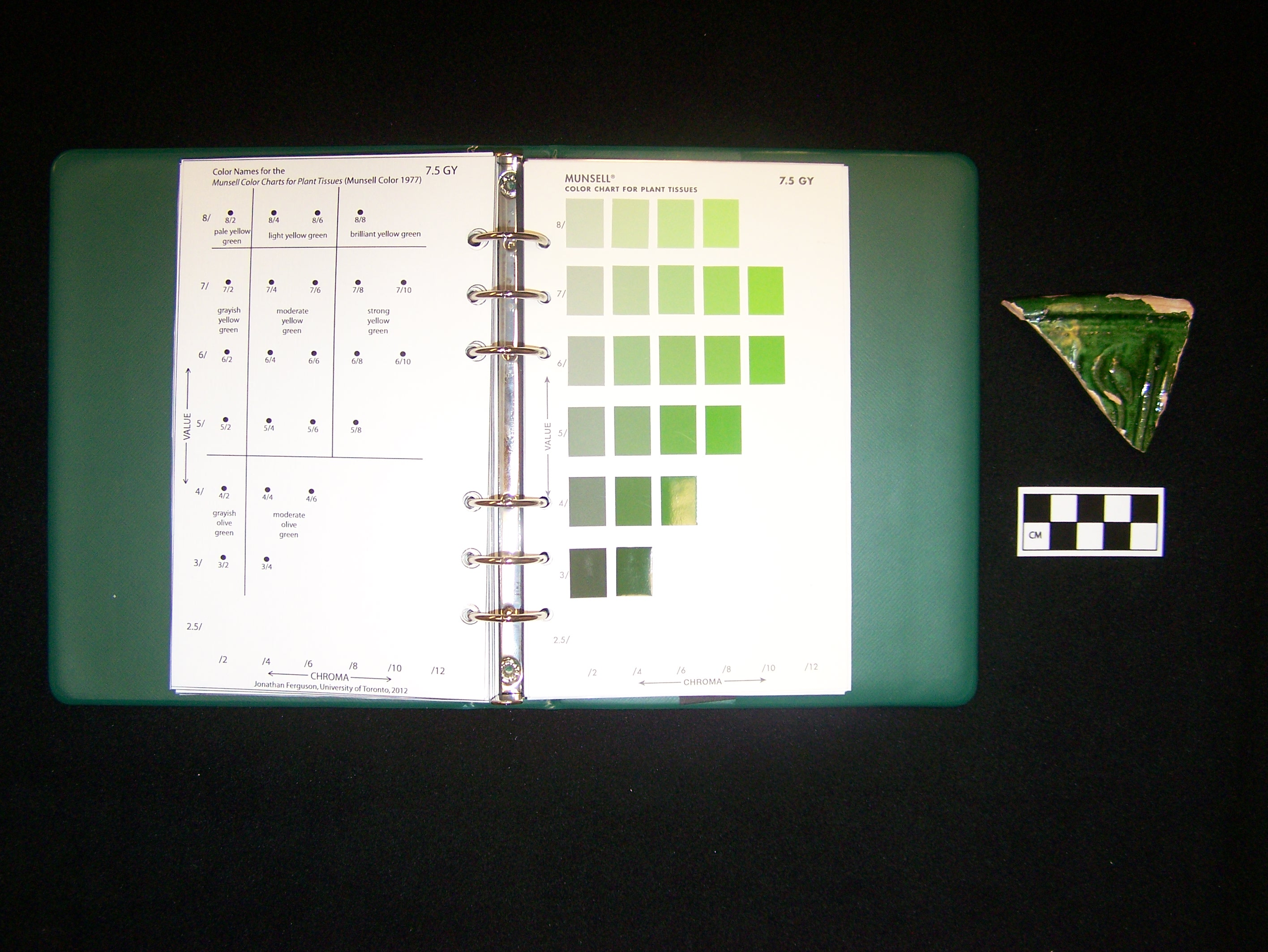Tmap munsell the 75gy hue page of the munsell color charts for plant tissues munsell color 1977 showing the proposed color name chart inserted on the left hand page nvjuhfo Gallery